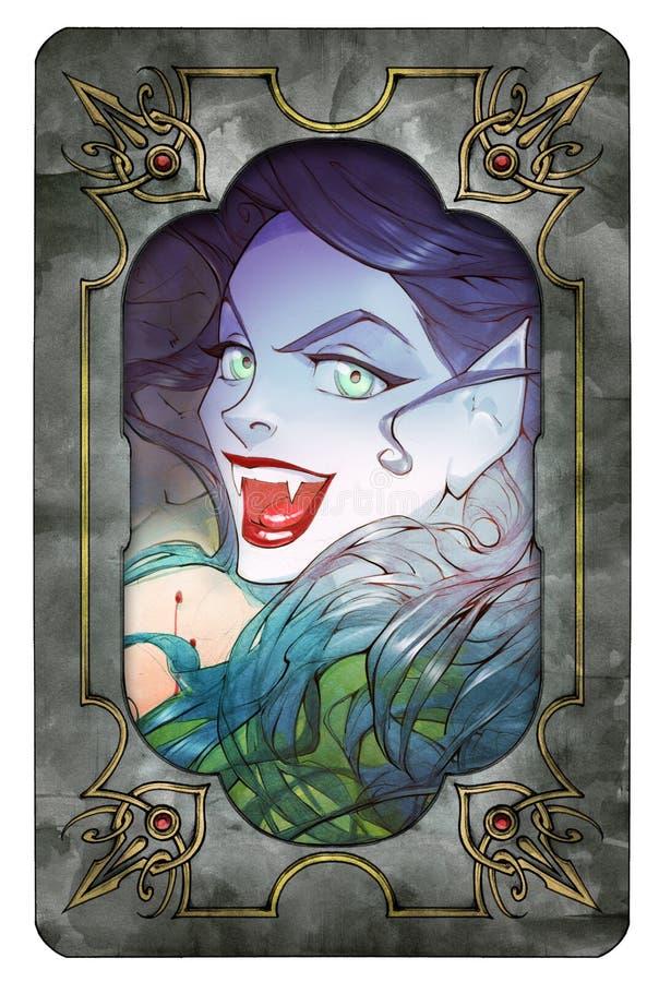 Иллюстрация хеллоуина аниме шаржа красивой очаровательной женщины вампира с красными губами иллюстрация вектора