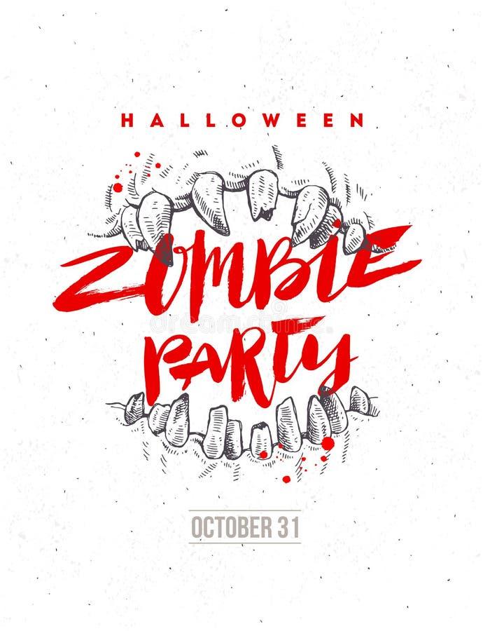 Иллюстрация хеллоуина нарисованная рукой Плакат или рогулька партии зомби Челюсти заголовка каллиграфии изверга и щетки бесплатная иллюстрация