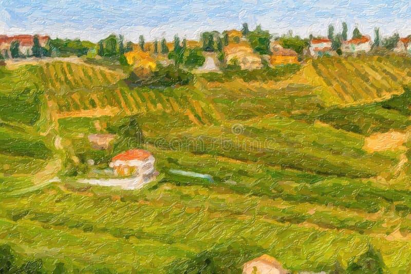 Иллюстрация холмистой сельской местности стоковое изображение