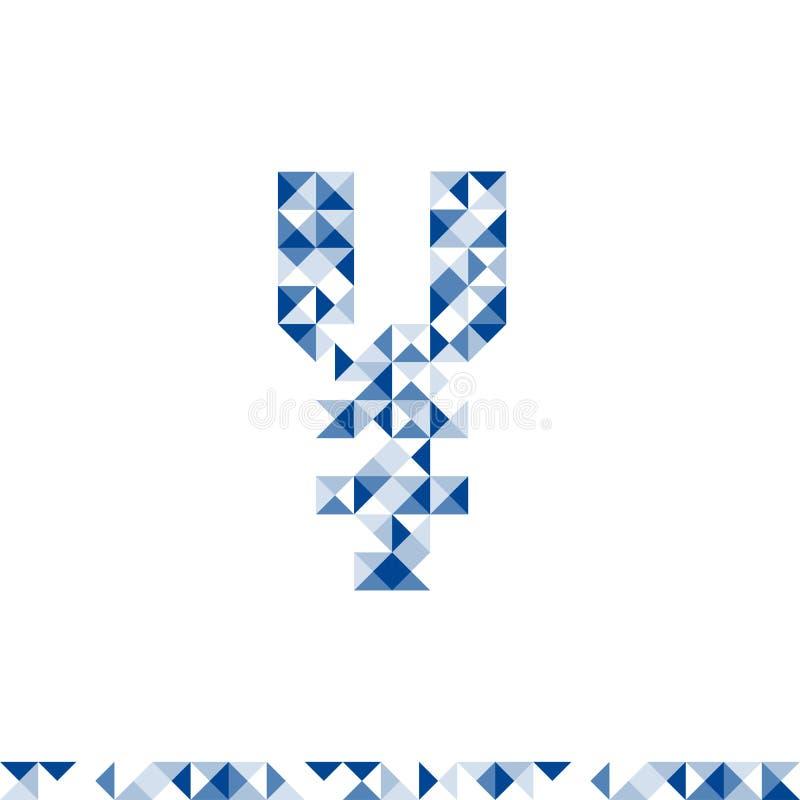 Иллюстрация цвета абстрактного геометрического дизайна формы символа японских иен JPY валюты картины синяя иллюстрация штока