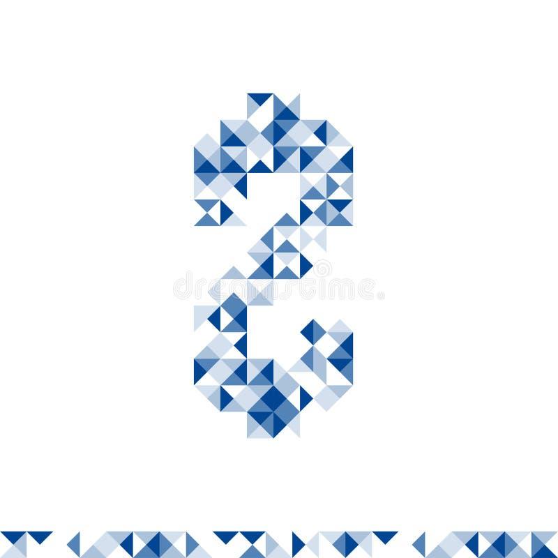 Иллюстрация цвета абстрактного геометрического дизайна формы символа долларов USD Соединенных Штатов валюты картины синяя иллюстрация вектора