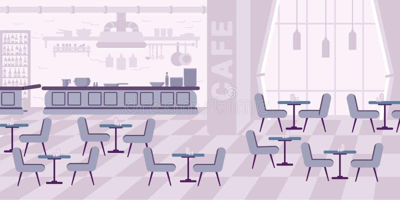 Иллюстрация цвета вектора ресторана внутренняя плоская иллюстрация штока