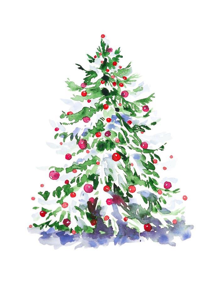 Иллюстрация цвета воды рождественской елки с игрушками Изолировано на белом фоне иллюстрация вектора