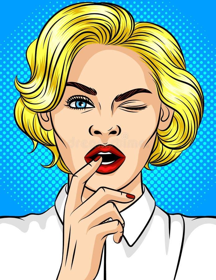 Иллюстрация цвета девушки стиля поп-искусства подмигивает бесплатная иллюстрация