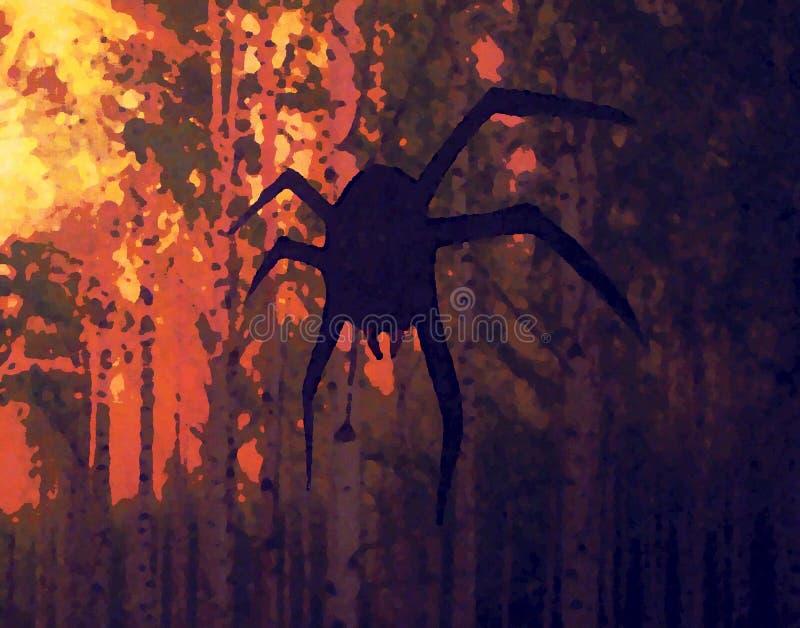 Иллюстрация цвета которая показывает вися паук иллюстрация штока