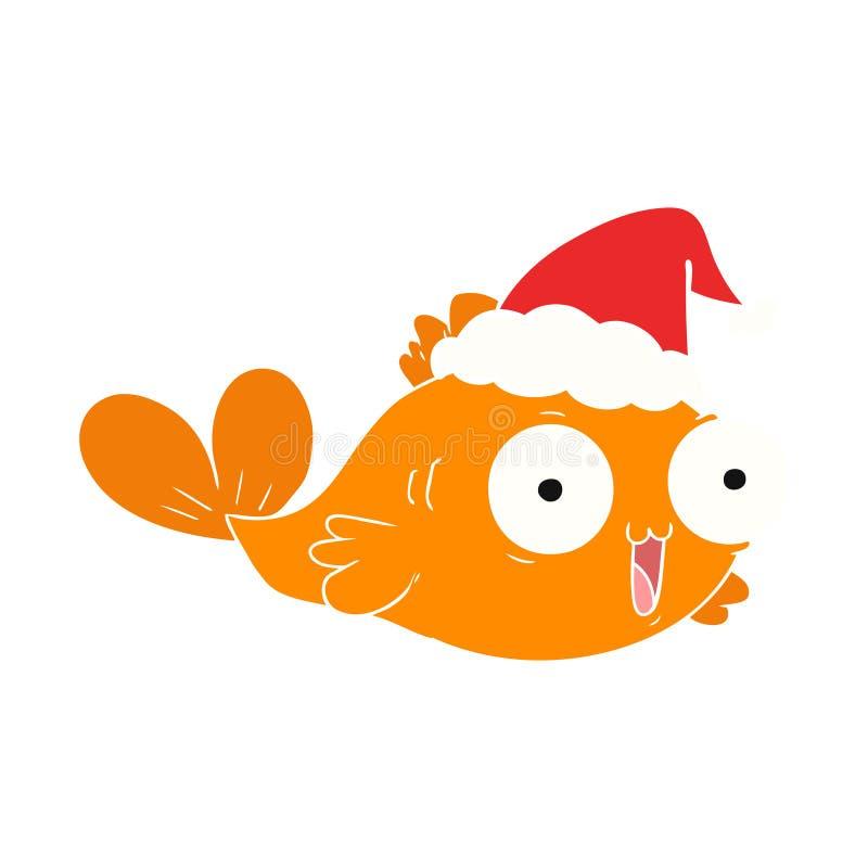иллюстрация цвета счастливой рыбки плоская нося шляпы santa иллюстрация штока