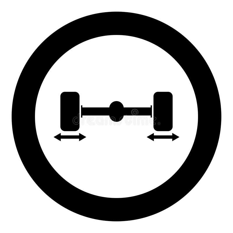 Иллюстрация цвета черноты значка балансера колеса компьютера колес автомобиля починки в круге круга иллюстрация штока