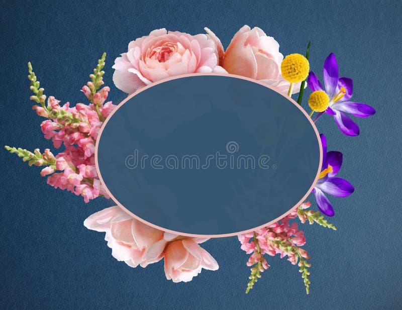 Иллюстрация цветков красивых Boho в знамени с космосом экземпляра Венок цветка с розами, крокусом и другими заводами иллюстрация вектора