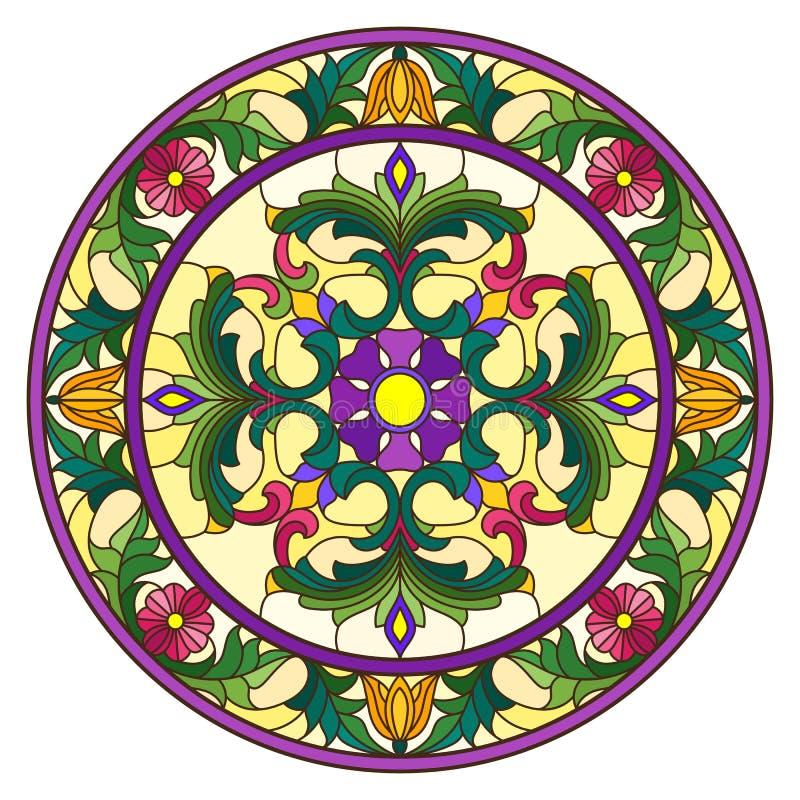Иллюстрация цветного стекла, круглое зеркальное отображение с флористическими орнаментами и свирли, яркие цветки на желтой предпо иллюстрация вектора
