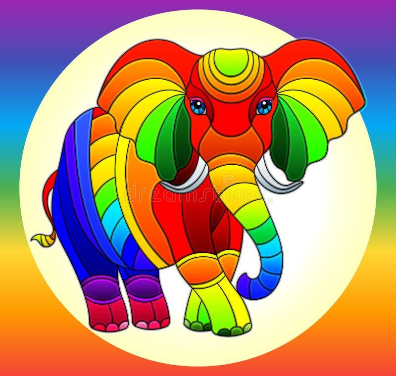 Иллюстрация цветного стекла со слоном яркой радуги милым на предпосыл иллюстрация штока