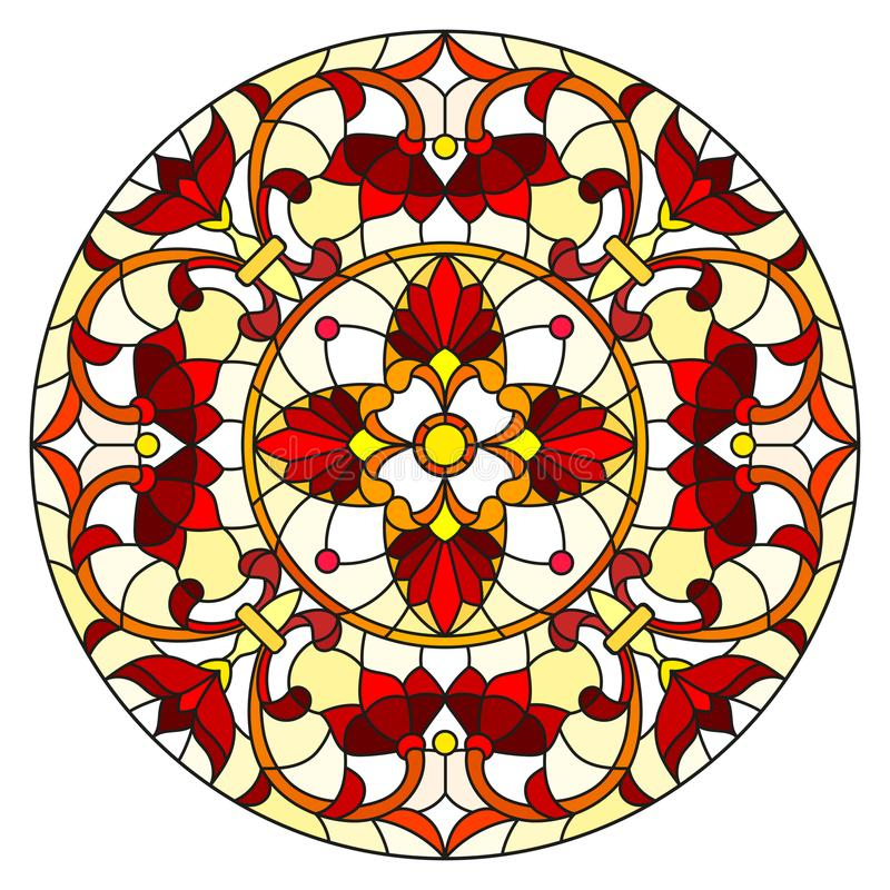 Иллюстрация цветного стекла с абстрактными цветками, листьями и свирлями, круговым изображением на белой предпосылке иллюстрация штока