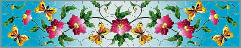 Иллюстрация цветного стекла с абстрактным курчавым розовым цветком и фиолетовой бабочкой на голубой предпосылке, горизонтальном и иллюстрация вектора