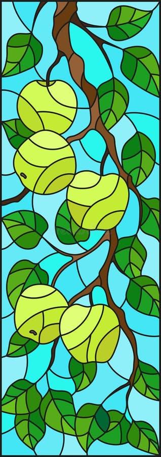 Иллюстрация цветного стекла с ветвями яблонь, плодоовощ разветвляет и выходит против неба, вертикальной ориентации иллюстрация штока