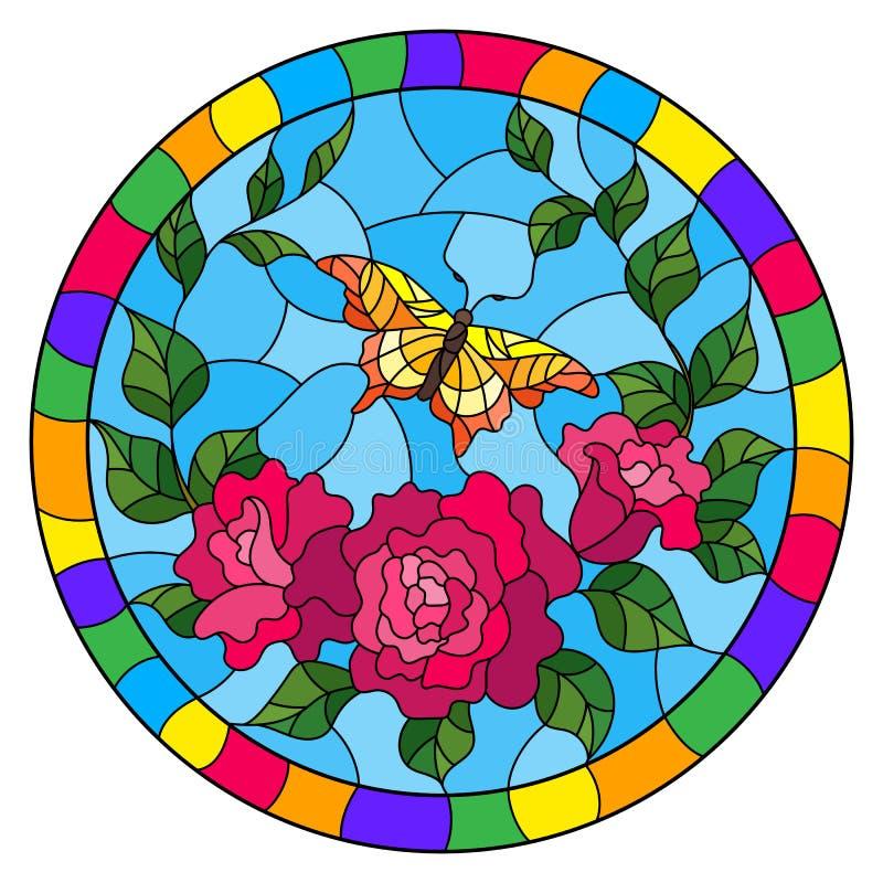 Иллюстрация цветного стекла с красными цветками и листьями розы пинка, и изображение желтой бабочки круглое в яркой рамке бесплатная иллюстрация