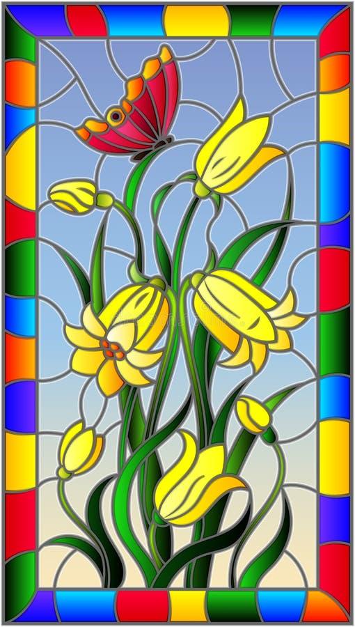 Иллюстрация цветного стекла с листьями и цветками колоколов, желтыми цветками и бабочкой на предпосылке неба в яркой рамке иллюстрация вектора