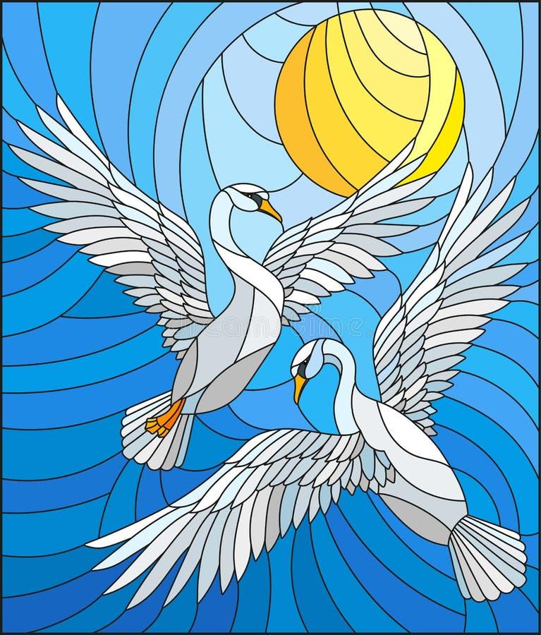 Иллюстрация цветного стекла с парой лебедей на предпосылке неба и облаков дневного времени иллюстрация штока