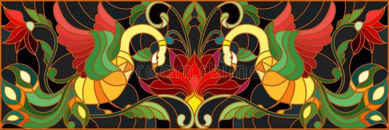 Иллюстрация цветного стекла с парой петухов, цветков и картин на темной предпосылке, горизонтального изображения, имитационного o бесплатная иллюстрация