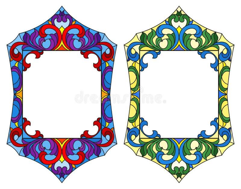 Иллюстрация цветного стекла с рамками, флористическими орнаментами иллюстрация вектора