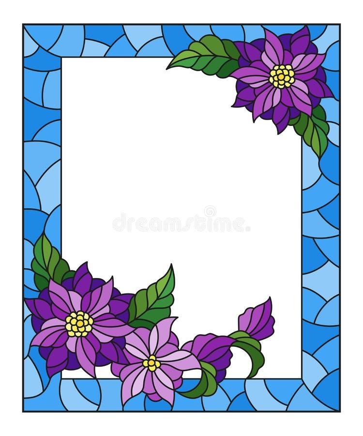 Иллюстрация цветного стекла с рамкой с абстрактными фиолетовыми цветками на голубой предпосылке, прямоугольном изображении бесплатная иллюстрация