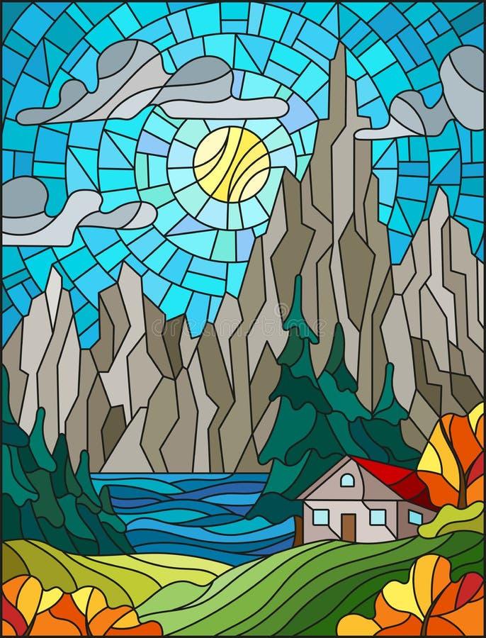 Иллюстрация цветного стекла с сиротливым домом на предпосылке сосновых лесов, озер, гор и дн-солнечного неба с облаками, a бесплатная иллюстрация