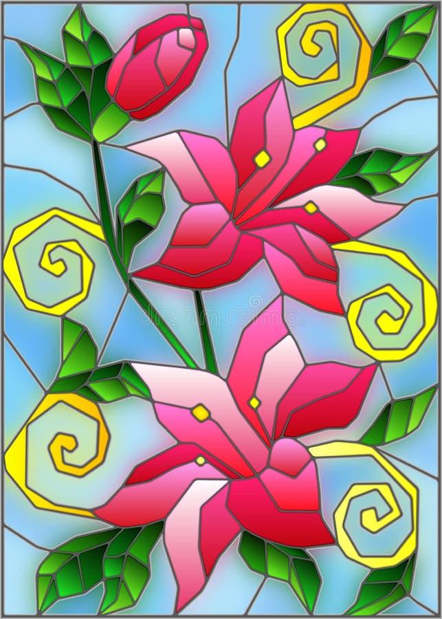 Иллюстрация цветного стекла с цветками и листьями розовых лилий на голубой предпосылке иллюстрация штока