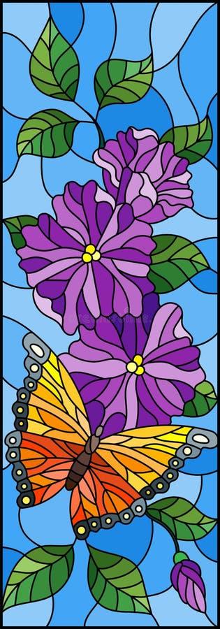 Иллюстрация цветного стекла с яркой бабочкой против неба, листвы и цветков, на голубой предпосылке, вертикальная ориентация бесплатная иллюстрация