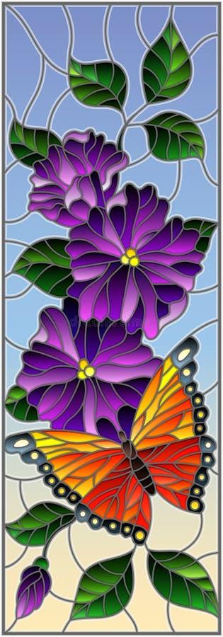 Иллюстрация цветного стекла с яркой бабочкой против неба, листвы и цветков, на предпосылке неба, вертикальная ориентация иллюстрация штока