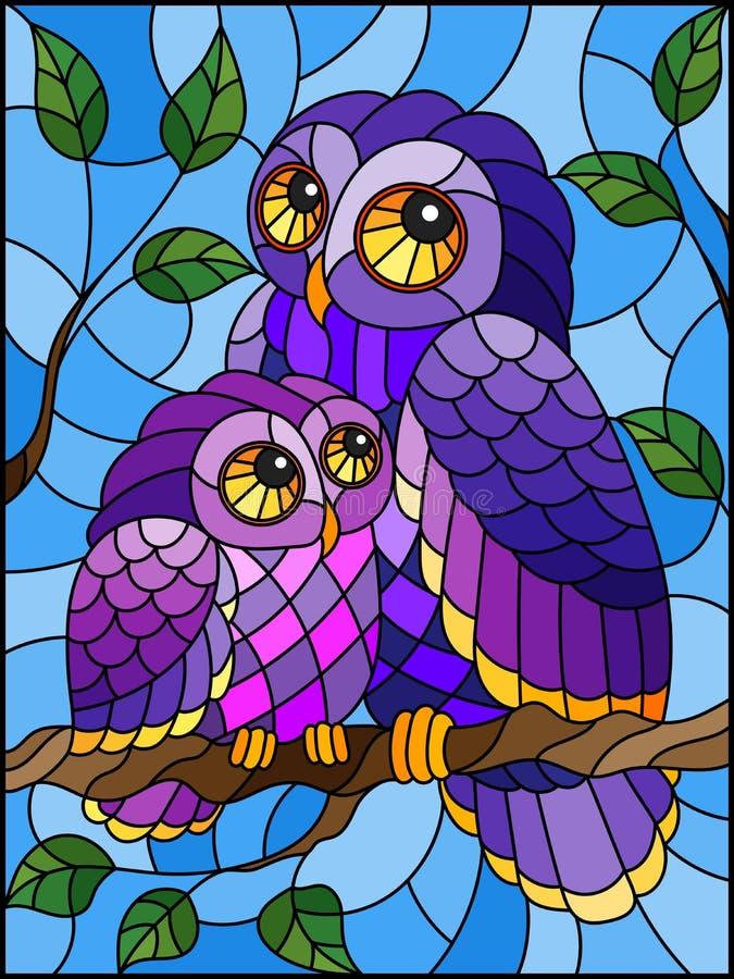 Иллюстрация цветного стекла с fairy сычом и owlet на ветви дерева против неба иллюстрация вектора