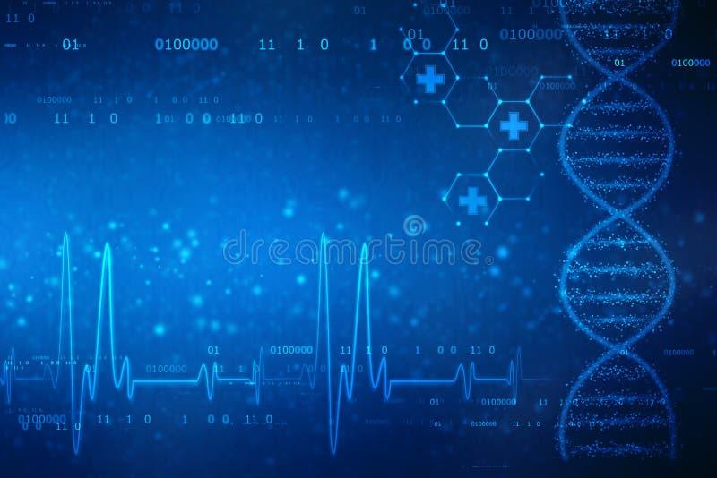 Иллюстрация цифров структуры ДНК, абстрактной медицинской предпосылки стоковые изображения rf