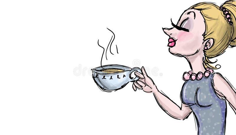 Иллюстрация чая питья иллюстрация вектора