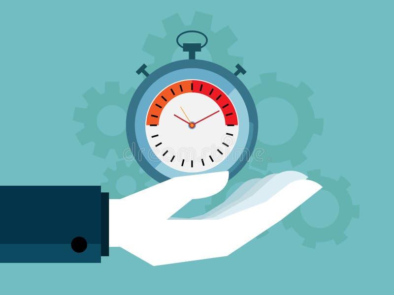 Иллюстрация человеческой руки держа колеса шестерни секундомера и cog иллюстрация штока