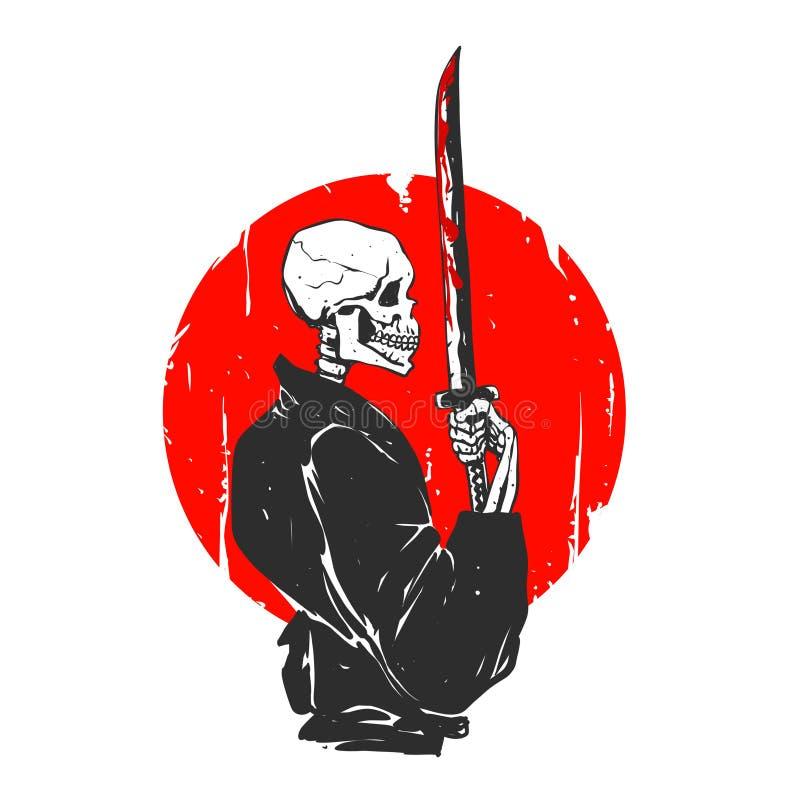 Иллюстрация черепа самурая - черно-белая бесплатная иллюстрация