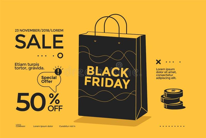 Иллюстрация черного дизайна плаката продажи пятницы плоская иллюстрация вектора