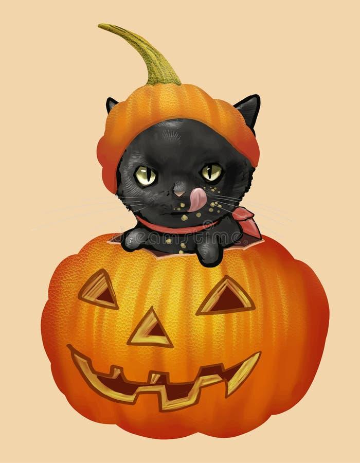 Иллюстрация черного кота в векторе значка тыквы на хеллоуин иллюстрация штока