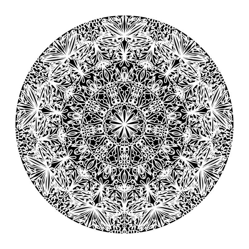 Иллюстрация черно-белой руки мандалы вычерченная иллюстрация штока