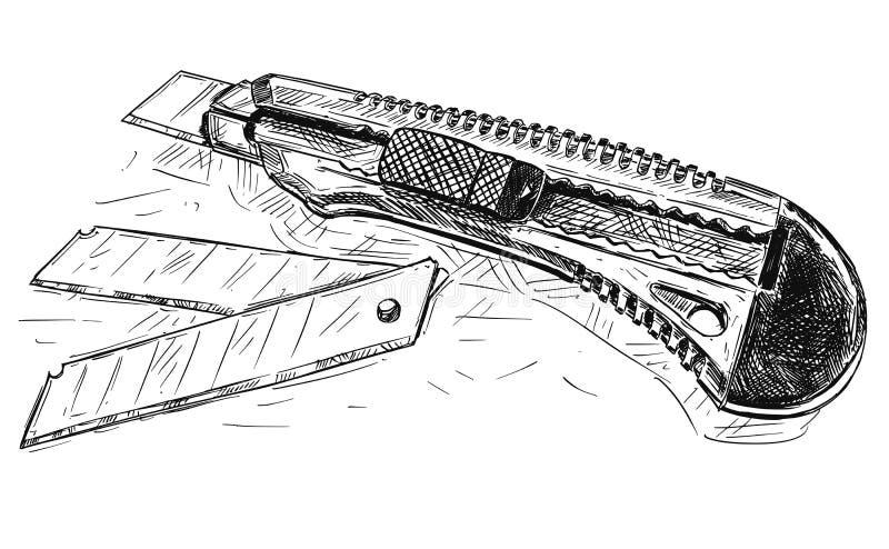 Иллюстрация чертежа вектора художническая общего назначения ножа и лезвий бесплатная иллюстрация