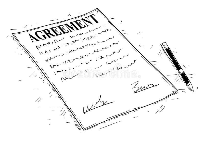 Иллюстрация чертежа вектора художническая ручки и документа согласования к знаку иллюстрация вектора
