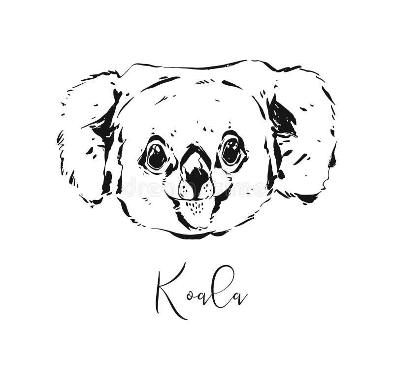 Иллюстрация чертежа эскиза конспекта вектора руки вычерченными художественными текстурированная чернилами графическая головы коал иллюстрация штока