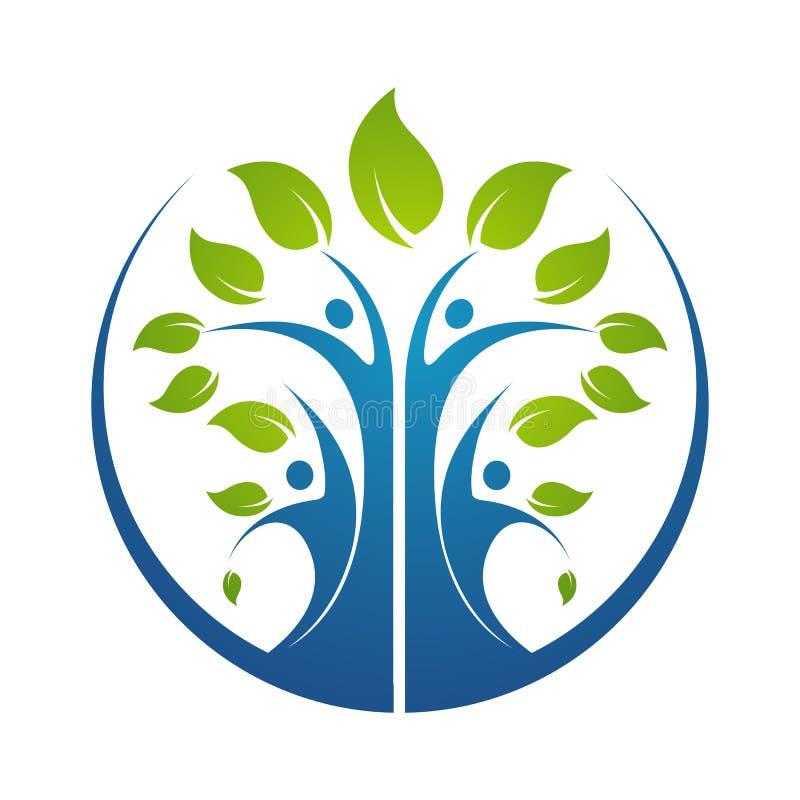 иллюстрация шаблона дизайна логотипа значка символа фамильного дерев дерева иллюстрация вектора