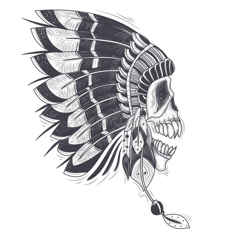 иллюстрация шаблона для татуировки с человеческим черепом в индийской шляпе пера бесплатная иллюстрация