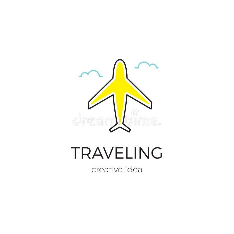 Иллюстрация шаблона логотипа для авиатранспортной компании, авиапорта или бюро путешествий иллюстрация вектора
