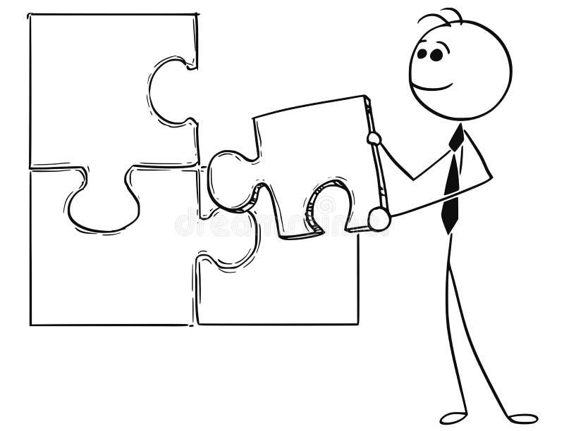 Иллюстрация шаржа бизнесмена держа часть мозаики бесплатная иллюстрация