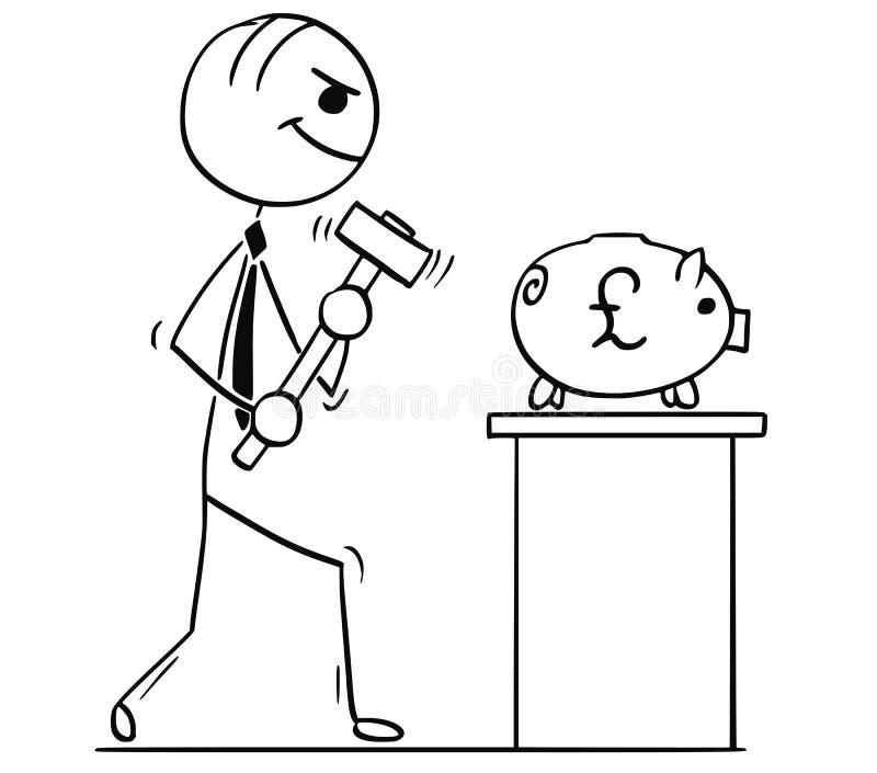 Иллюстрация шаржа бизнесменов с молотком и копилкой бесплатная иллюстрация