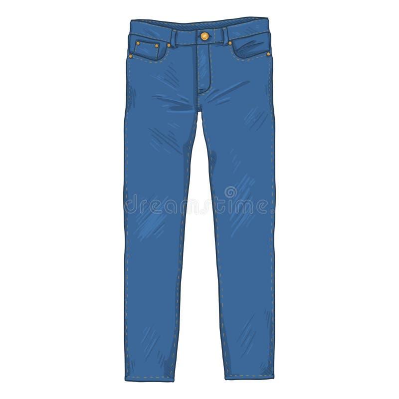 Иллюстрация шаржа вектора - брюки джинсов джинсовой ткани Вид спереди бесплатная иллюстрация
