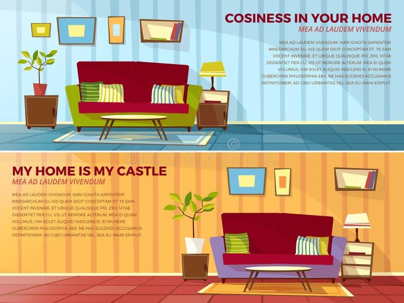 Иллюстрация шаржа вектора дизайна интерьера комнаты комнаты старых или современных квартир живущей с мебелью иллюстрация штока