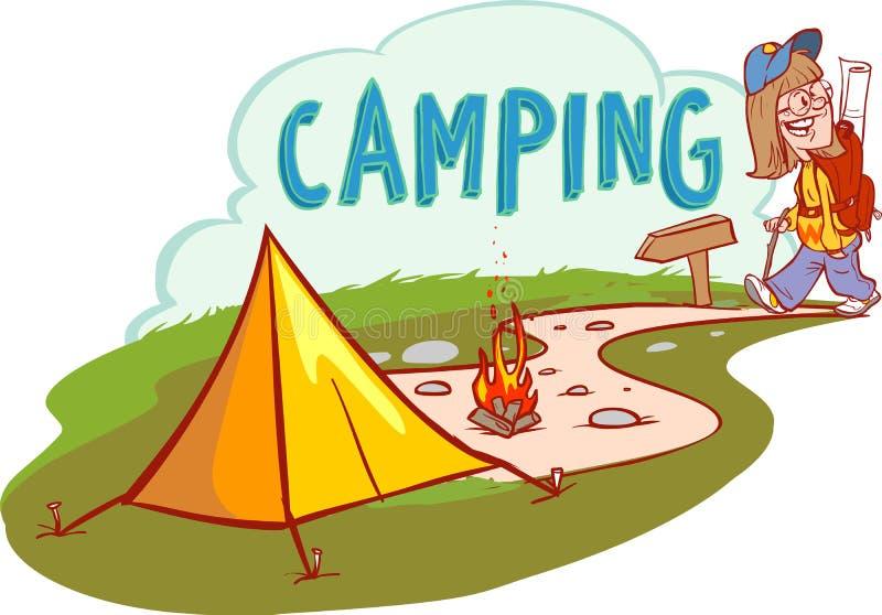Иллюстрация шаржа вектора лета располагаясь лагерем Концепция приключений, перемещения и экологического туризма иллюстрация штока