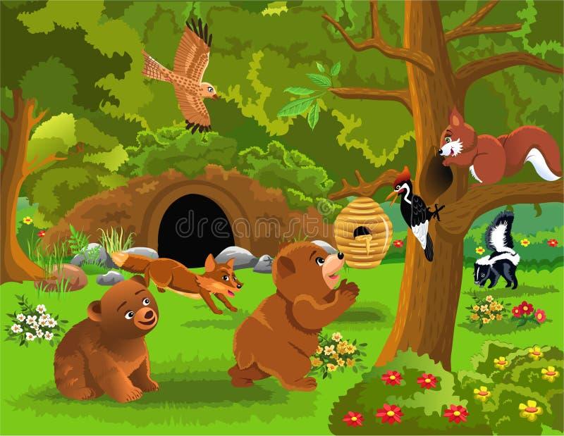 Иллюстрация шаржа диких животных живя в лесе бесплатная иллюстрация