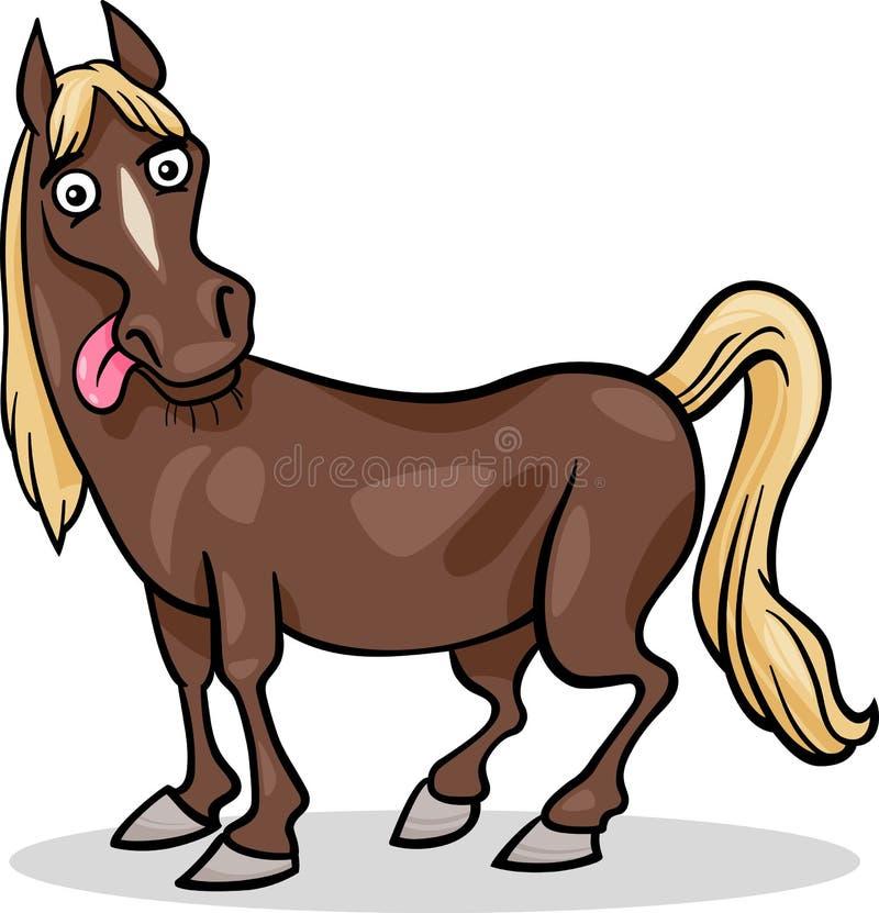 Иллюстрация шаржа животноводческой фермы лошади бесплатная иллюстрация