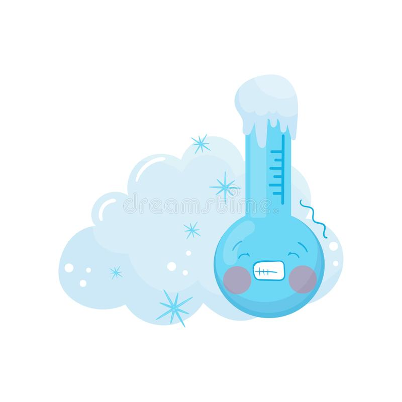 Иллюстрация шаржа замороженного термометра с смешной стороной и голубого снежного облака за им Элемент прогноза погоды иллюстрация вектора