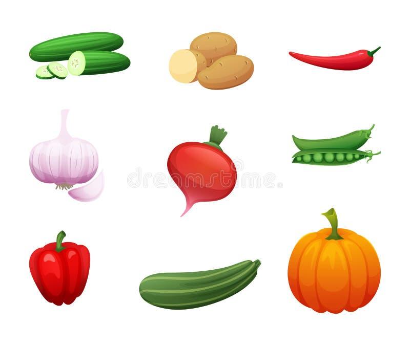 Иллюстрация шаржа здоровых овощей фермы Собрание элементов для вашего дизайна Значки для signage, меню вектора бесплатная иллюстрация